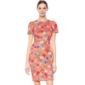 NEW Calvin Klein Orange Floral Scuba Sheath Dress